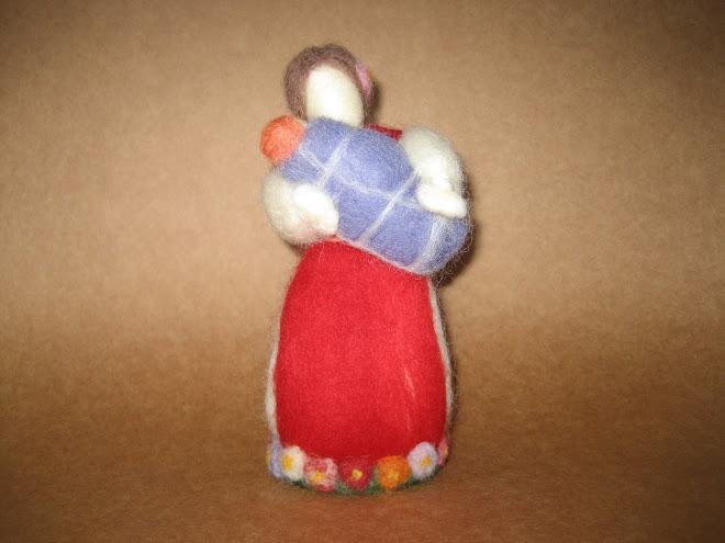 """Decoração para mesa """"Mamãe & Bebê"""", em lã cardada."""
