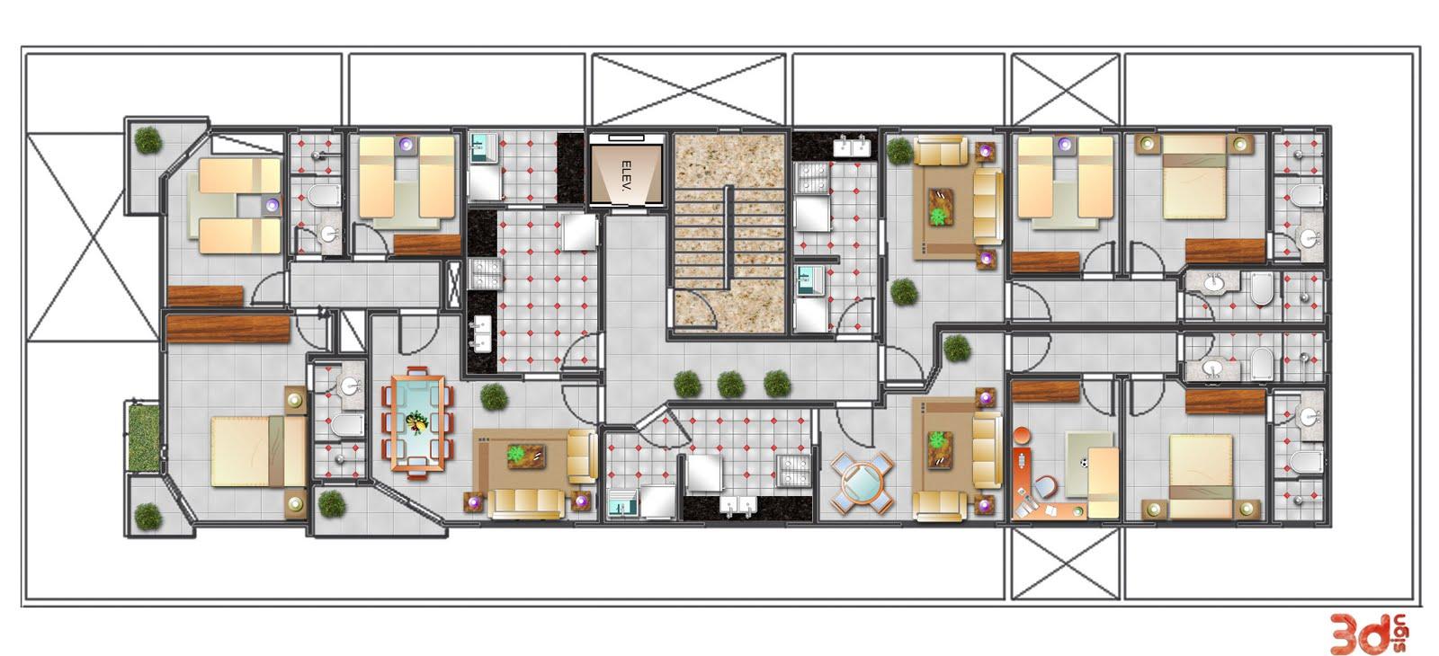 Well-known 3dsign: Fachada de prédio e plantas baixas DJ97
