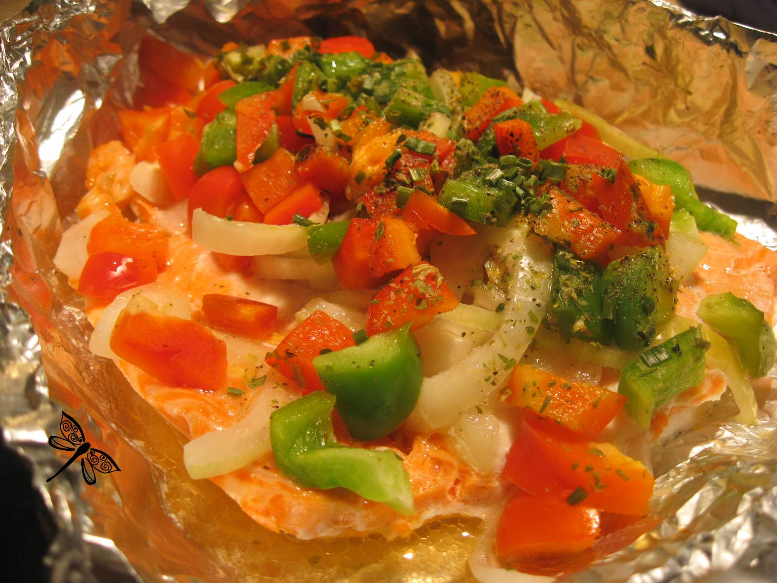 Libellule et ses spatules saumon en papillote for Saumon en papillote au barbecue