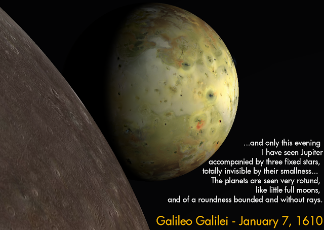 ...and only this evening I have seen Jupiter accompanied by three fixed stars, totally invisible by their smallness...  The planets are seen very rotund, like little full moons, and of a roundness bounded and without rays. - Galileo Galileo, January 7, 1610