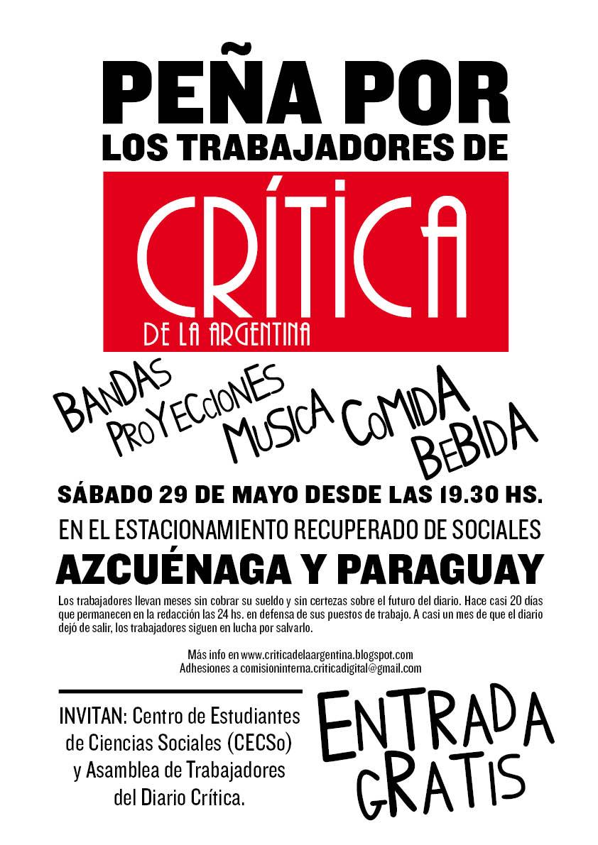 Blog de los trabajadores del Diario Crítica de la Argentina: mayo 2010