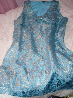 blue and gold shift dress