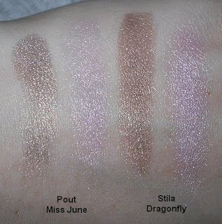 pout miss june stila dragonfly swatches