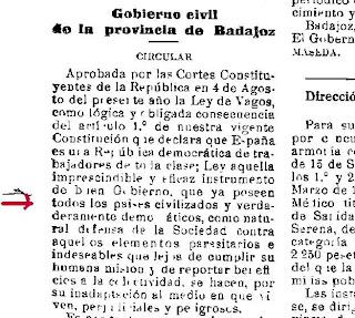... de la Ley de Vagos y Maleantes en la provincia de Badajoz en 1933