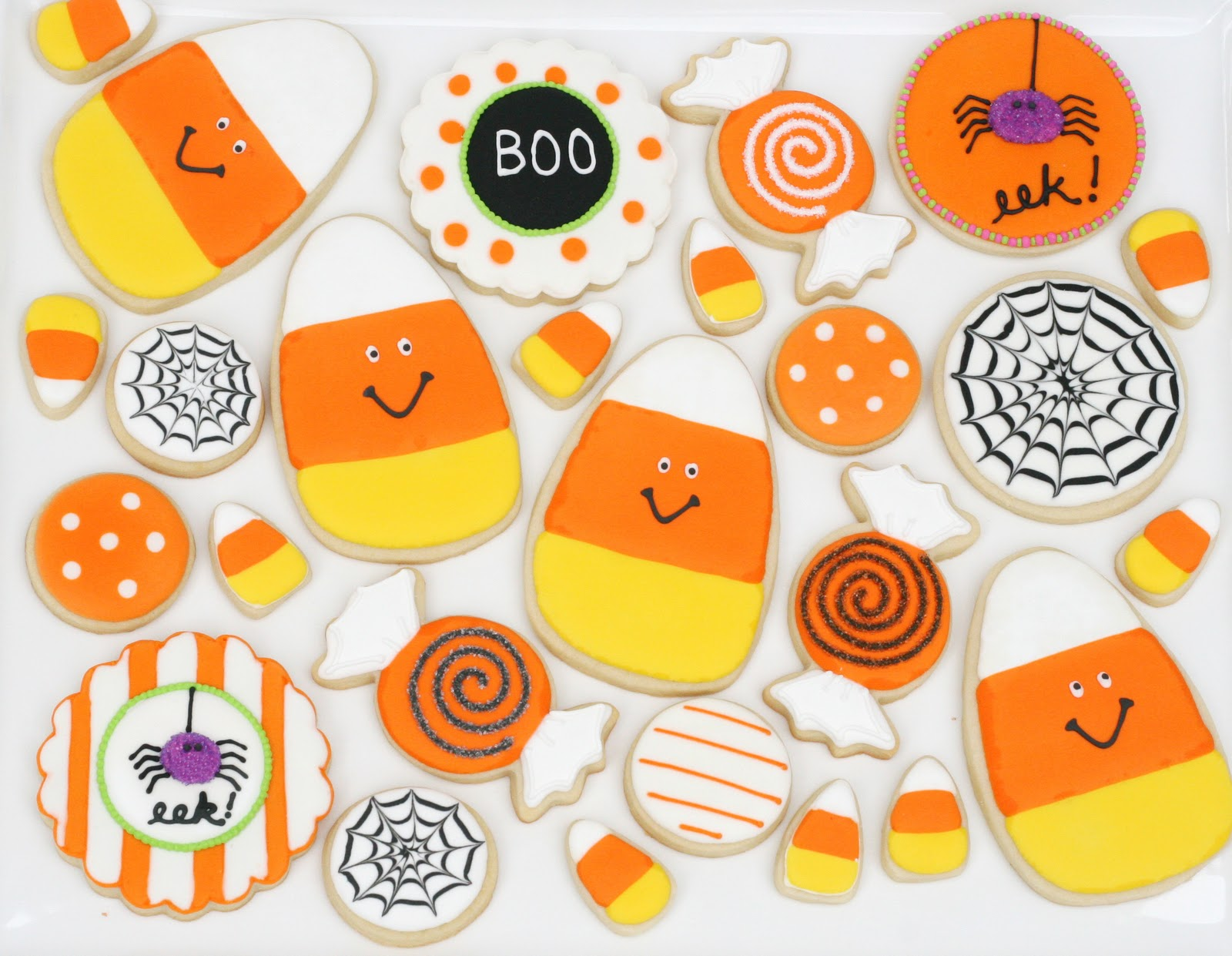 cute candy corn halloween decorated cookies by glorioustreatscom