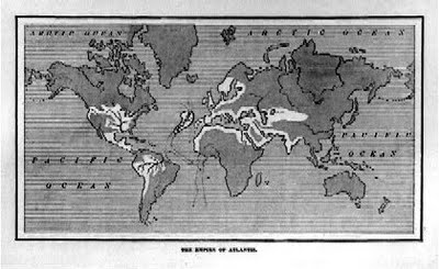Mapa del imperio atlante de la obra The Antediluvian World de Ignatius Donnelly, 1882