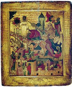 Icono del siglo XVI con imágenes del Apocalipsis