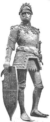 El Rey Arturo en su armadura de guerra, estatua en bronce del siglo XV