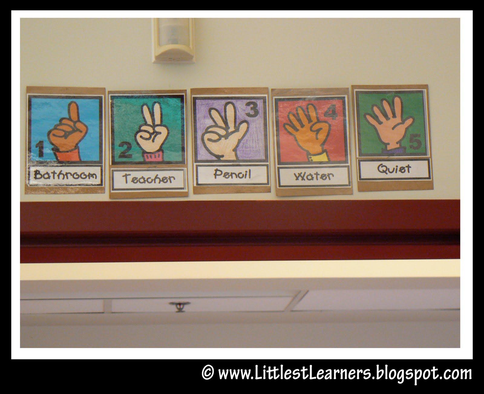 Littlest Learners / Clutter-Free Classroom Blog: Hand Signals Quiet Signal For Teachers