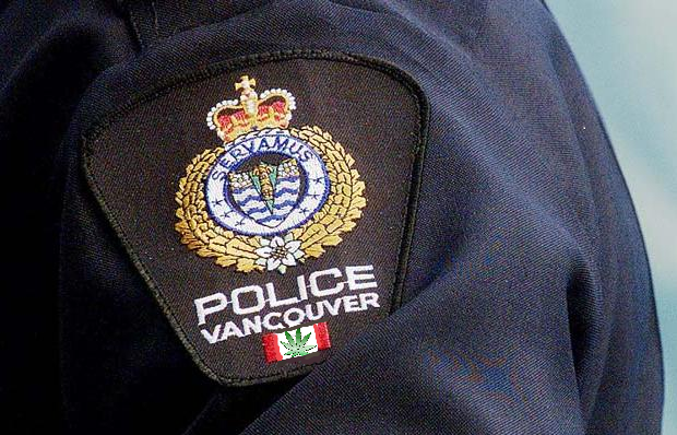Vancouver police officers replaced Canadian flags on their badges with