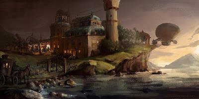 Strange Island - steampunk art by Alex Broeckel