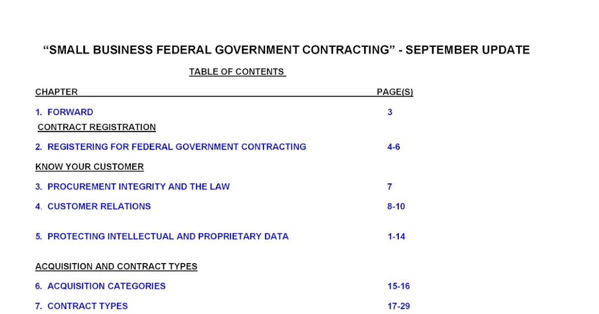 small business contracting plan