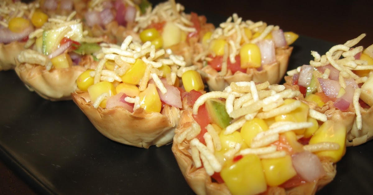 Pinky 39 s khoj khana corn canapes sev puri with a twist for Canape shells