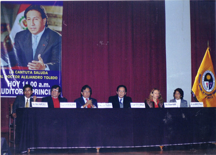 CONFERENCIA MAGISTRAL EN LA UNE, CON EL Dr. ALEJANDRO TOLEDO