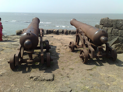 "Two British Cannons on the Alibag Fort, constructed by ""LOW MOOR IRONWORKS - Yorkshire"""