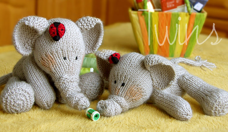 Free Knitting Patterns For Beginners Toys : Knitted Toys: Knitted Elephants and Ladybugs
