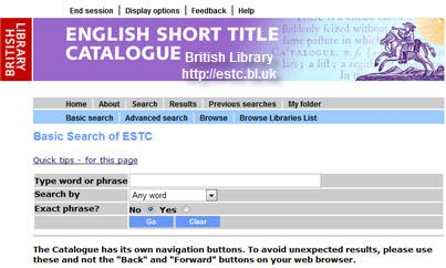 British library short title catalog