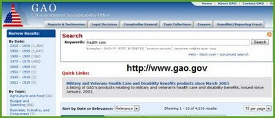 GAO Health Search Page