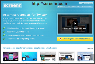 Screenr Intro Page