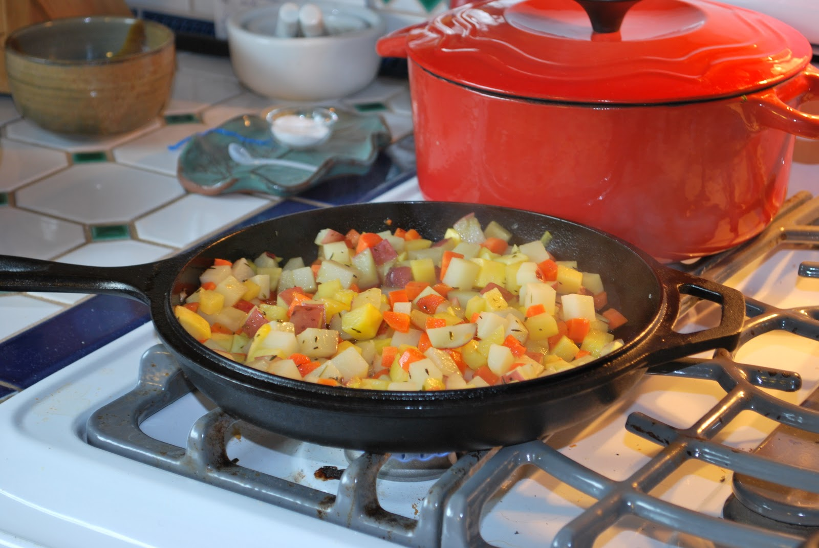 ... Turnips, Potatoes, Carrots with Onions & Thyme, and Black Bean Chili