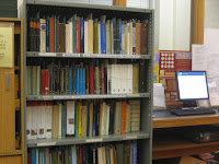 A photograph of the booksale shelves
