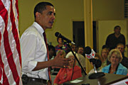 Barack Obama at town hall meeting