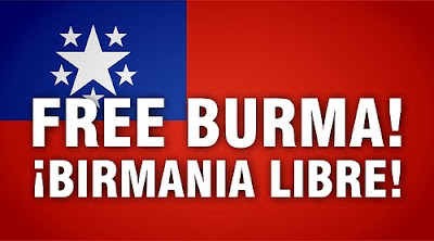 flag image with free Burma in English and Spanish