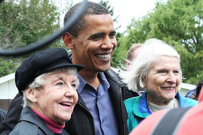 Obama with two elder women supporters