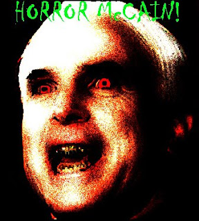 the words horror mccain with pic of him as a vampire