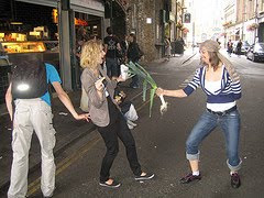 people play acting the pickpockets diversion