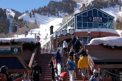 Aspen Gondola Plaza - Winter Skiers