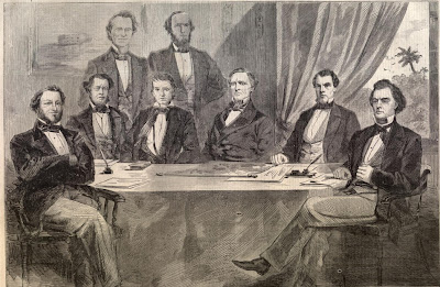 Left to right. Attorney-General Benjamin...Secretary Mallory...Secretary Memminger...Vice-President Stephens...Secretary Walker...President Davis...Postmaster Reagan...Secretary Toombs. THE CABINET OF THE CONFEDERATE STATES AT MONTGOMERY, FROM PHOTOGRAPHS BY WHITEHURST, OF WASHINGTON AND HINTON, OF MONTGOMERY, ALABAMA