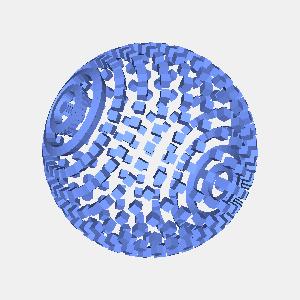 groovyとJOGLで描画した球状に配置した立方体
