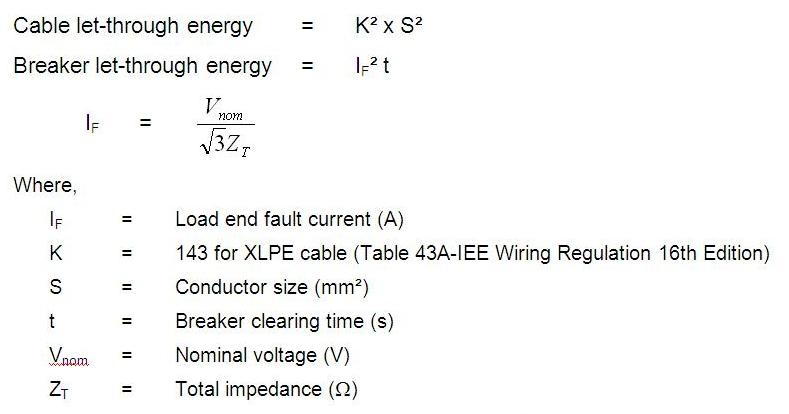Cable sizing calculation cable sizing design power oil and gas to check for let through energy equation below can be used greentooth Gallery