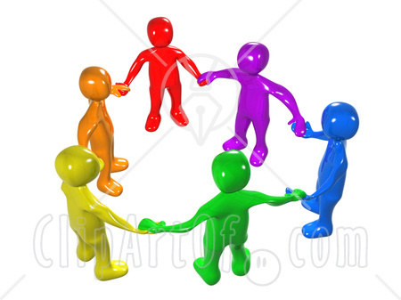 two people holding hands cartoon. Holding Hands Unity Circle;