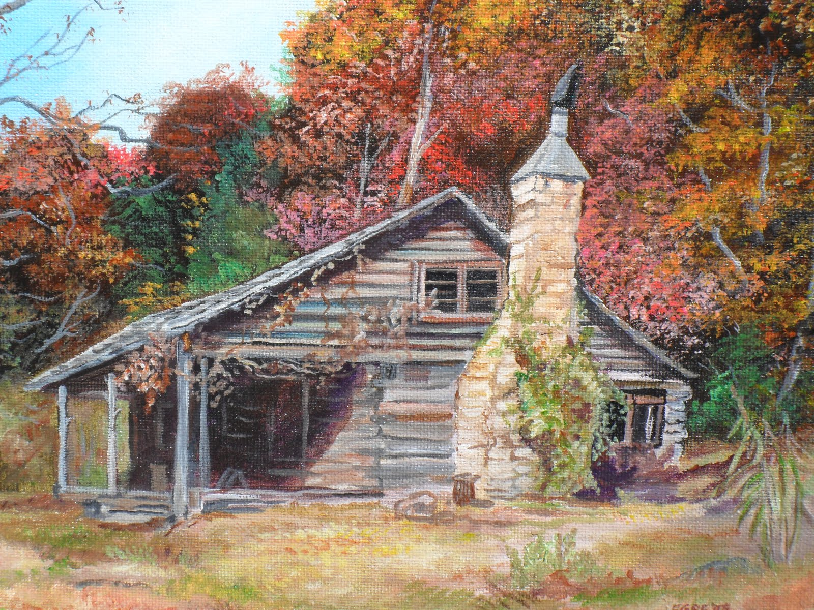 Paintings by egretta wells old log house pine mountain for Log cabin painting