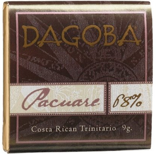 Dagoba low calorie dark chocolate tasting square