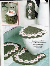 Jogo de banheiro Verde com Rosas