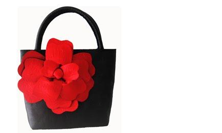 flor raso handbag rojo