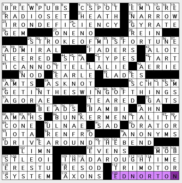 breach in church unity crossword