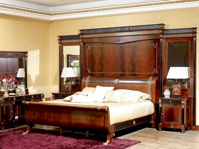 Antique italian classic furniture empire bedroom for Empire style bed