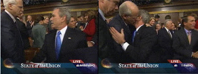 The Bush - Rep Chris Shays SOTU kiss