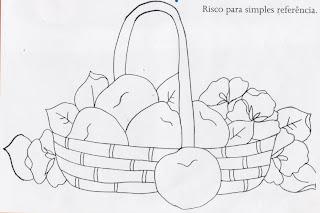 desenho de cesta com maças e amor perfeito