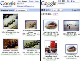 Comparação entre o Google Images nos EUA e na China