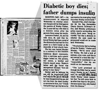 Wesley Parker, o garoto diabético que morreu por que seus pais acreditaram em uma cura que nunca ocorreu.