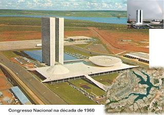 Congresso Nacional na década de 1960. Ao fundo vê-se o STF e à direita o Itamaraty