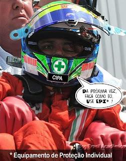 Massa estava usando capacete. Mas ninguém diz que ele usava por 'sorte'. Em sua profissão ninguém trabalha se não usar o equipamento de segurança.