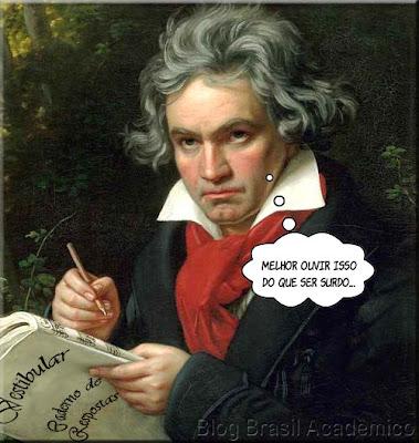 Montagem: Ludwig van Beethoven com seu caderno de respostas na mão