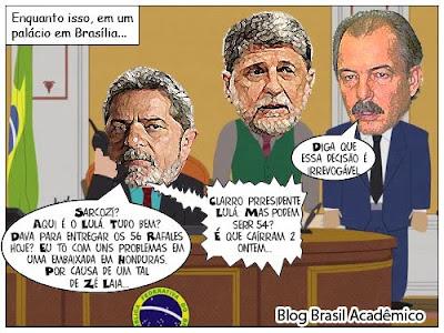 Charge sobre a crise em Honduras. Cenário em que Lula toma uma decisão irrevogável sobre a compra dos caças franceses Rafales.