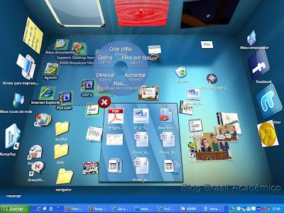 BumpTop: menu surge ao se fazer um movimento circular com o o botão do mouse pressionado. Funciona também com os dedos.